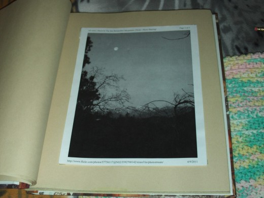 Here is a picture I took of a black and white photograph I placed in my art scrapbook.