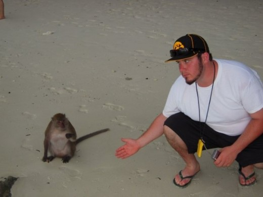 Ross Evans, making friends on Monkey Isalnd.