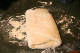The dough folded in thirds in preparation for he second rise