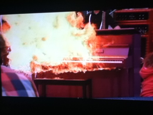 After a brilliant performance, the Cheerios set fire to one of the club's pianos.