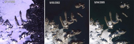 Northern Greenland emerges from the ice.  Image courtesy NASA and Wikimedia Commons.