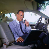A salesman, be it advertising or insurance, if he travels the road, sometimes uses a rental car and carries his laptop, ipad and tablet for coordinating his sales calls and meetings.