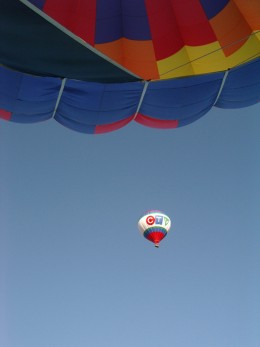 'This is your Captain Speaking.  Don't look now but we are being followed by 2 balloons.'