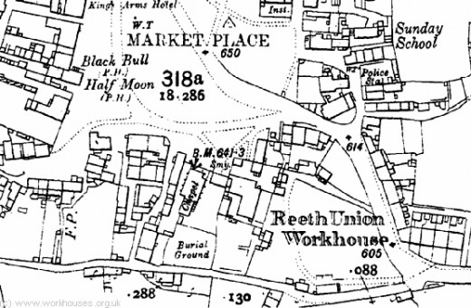Reeth town map, 1912. Notice the Workshouse marked bottom right. The Swaledale Museum and cafe are situated in what was the day School (to the right, marked Sunday School)
