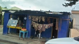 Meat store in Dominican Republic.  Their refrigeration isn't adequate, so they dry a lot of their meat.