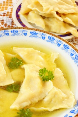 """Kreplach (ground meat or chicken filled """"dumpling"""" - this delicacy traditionally served on festive occasions such as before Yom Kippur or on Rosh Hashanah and Purim. Image:  iStockphoto.com/Elzbieta Sekowska"""