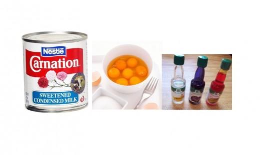 Condensed milk, Egg yolks, Flavouring