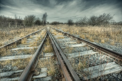 Two paths meet and finish the journey together. Of course, we are just using the tracks, no trains in this equation.