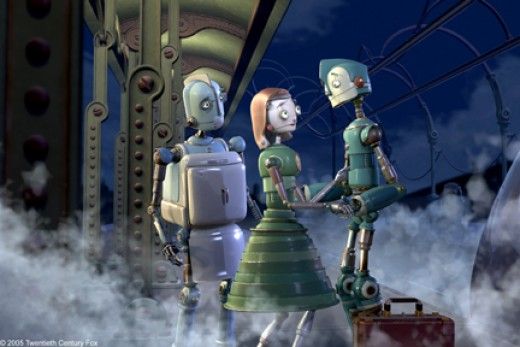 Rodney with his Dad and Mom, leaving for Robot City