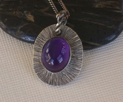 Lusciously textured amethyst cabochon necklace handmade from recycled sterling silver by Eye Candy by Amy.