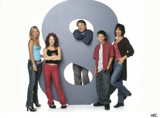 From Left to Right: Bridget Hennessy (Kaley Cuoco), Kerry Hennessy (Amy Davidson), Paul Hennessy (John Ritter), Rory Hennessy (Martin Spanjers), and Cate Hennessy (Katey Sagal).