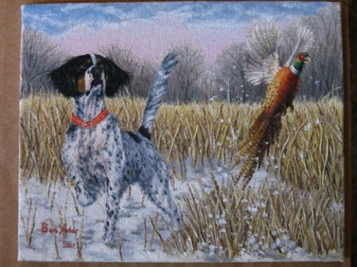 Oil Painting of hunting dog flushing out a pheasant in a snowy field.