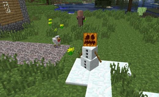 A minecraft snowman/ snow golem.