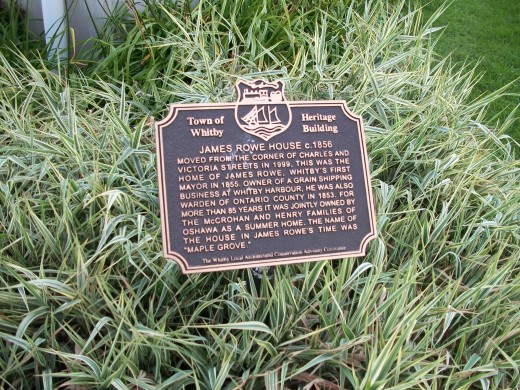 Town of Whitby historical plaque for the James Rowe House