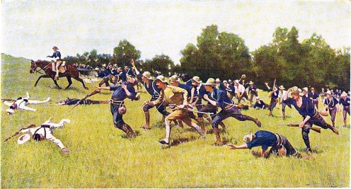 """""""The Charge of the Rough Riders"""" at the Battle of San Juan Hill, by Frederic Remington. The Rough Riders were Theodore Roosevelt's cavalry brigade."""