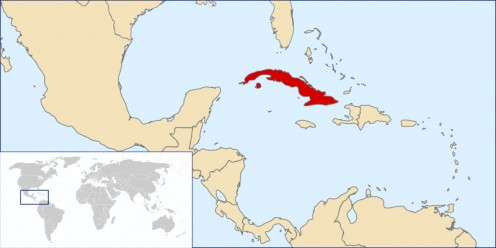 Cuba, in red, was the largest of the Spanish Caribbean holdings.