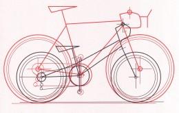 Design study of dwarf bike design next to a full-sized road bike.