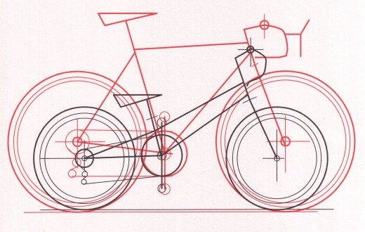 Design study of dwarf bike design next to a full-sized road bike.