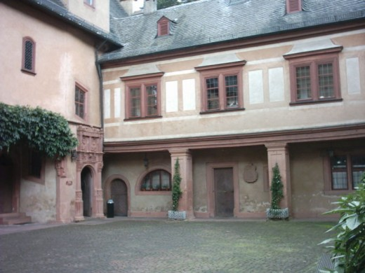Inner courtyard of Mespelbrunn Castle.