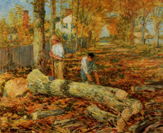 """Lumbering"" by Childe Hassam (1904)"