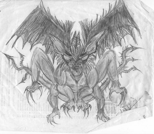 """Quick sketch of the """"Monster"""" I repeatedly dream of."""