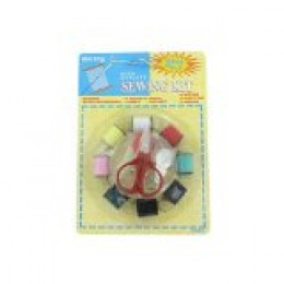 Some sewing kits are boxed, while others are small, and compact on hang tags.