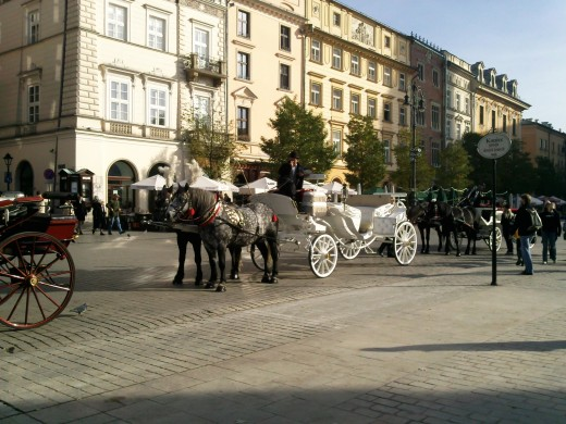 One of the horse drawn carriages