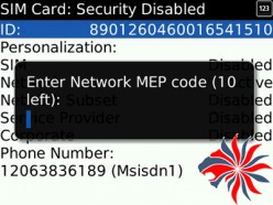 Find the Blackberry Network MEP Code and the MEP Number