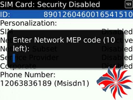 Enter Network MEP code (10 attempts left)