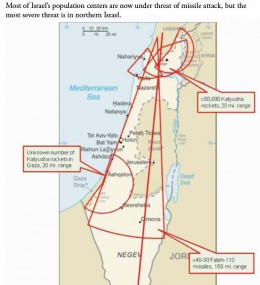 Map show ground missile ranges of Hamas and Hezbollah