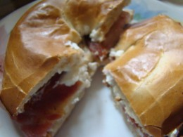 Hmmm, bacon and cream cheese bagels!
