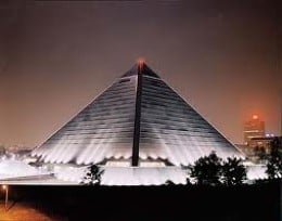 The Pyramid is 23 stories tall. Originally, it was a sports arena. Renovations are now in progress for additional retail stores, restaurants, and offices