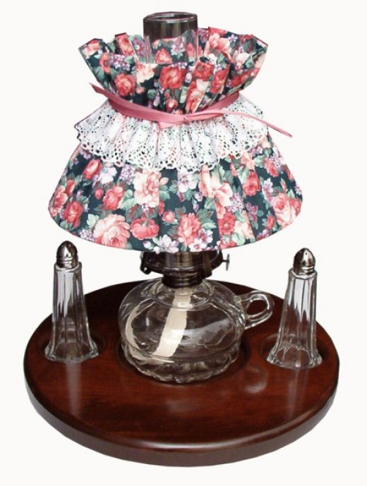 Table for Two?  Lazy Susan with oil lamp and salt and pepper shaker.  Several lamp shade options available