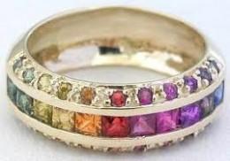This is my wedding ring!!! (Princess & round-cut rainbow sapphire)