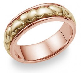 Yellow and rose gold heart band