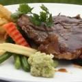 Succulent Rib Eye Steak with Pink Pepper Au Jus
