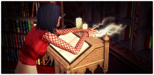 A sims 3 witch casts a spell using Lady Ravendancer Goth's Book o' Spells