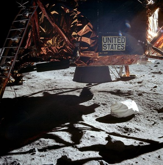 Undisturbed: A picture of the Apollo moon landing craft shows there are no marks in the moon's dust surface
