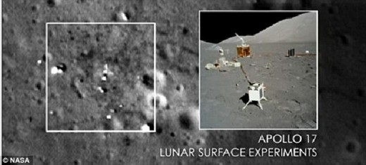 The square to the left apparently shows debris and litter from the Apollo craft that was left on the moon