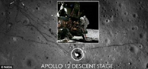This picture claims to show the descent stage and a scorch mark left on the moon. There was no scorch mark in the original 1975 moon landing pictures