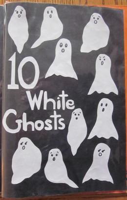10 White Ghosts saying Boo! Boo! Boo!