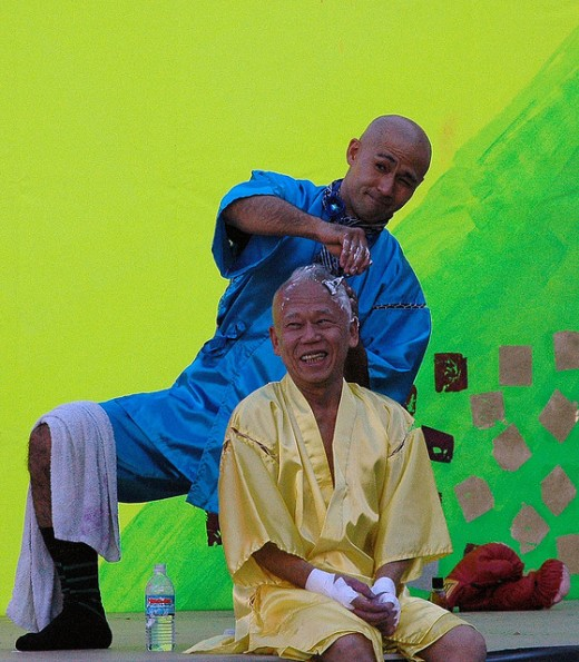 Ushio Shinohara will often have his head shaved into a mohawk as part of his performance.