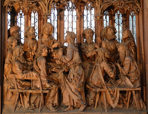 Wood sculpted altar by Tilman Riemenschneider in St. Jakob Kirche (St. James Church) in Rothenburg