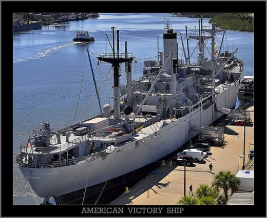 American Victory Ship (World War II, Korea, Vietnam), docked in Tampa, photo by GregM35, CC BY-ND 2.0, flickr.com/photos/35696215@N04/5554233435/in/set-72157626128488687