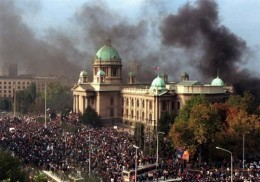 Parliament Palace of ex-Yugoslavia on fire...