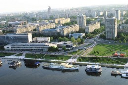 The view of Danube from the coast in New Belgrade...