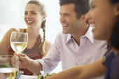People, who are the right people, wealthy, important, treasures of society, have big fun at elegant dinner parties toasting their friends' latest best-selling book or blockbuster movie.