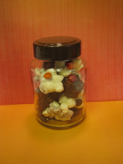 Quick and Easy Candy Gift: Jar filled with Easy Mix In Home Made Candy
