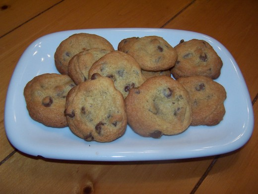 After cooling on a cooling rack for several minutes, warm Nestle Tollhouse cookies are ready to eat!