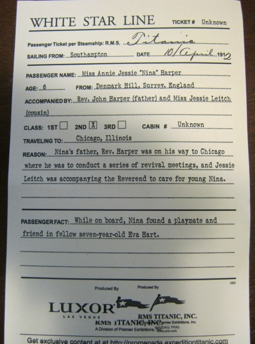"My copy of the ""Boarding Pass"" to enter the Titanic exhibition at the Luxor Hotel in Las Vegas."